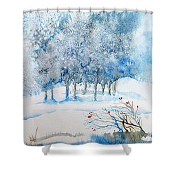 Snow Blizzard In The Grove  Shower Curtain