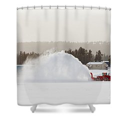 Snow Blower Clearing Road In Winter Storm Blizzard Shower Curtain by Stephan Pietzko