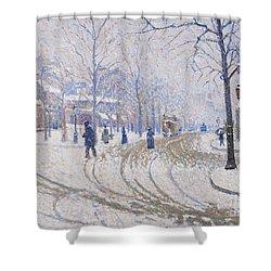 Snow  Boulevard De Clichy  Paris Shower Curtain by Paul Signac