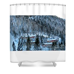 Snow Cabins Shower Curtain