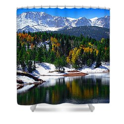 Snow Capped Pikes Peak At Crystal  Shower Curtain by John Hoffman