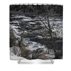 Snow Capped Stream Shower Curtain by Adam Cornelison