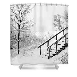 Snow Cover Stairs Shower Curtain