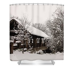 Snow Covered Bridge Shower Curtain by Robert Frederick