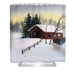 Snow Covered Bridge Shower Curtain by John Burch