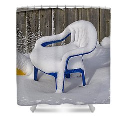 Snow Covered Chair Shower Curtain by Thomas Woolworth