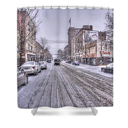 Snow Covered High Street And Cars In Morgantown Shower Curtain