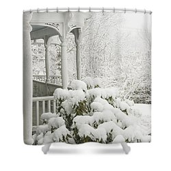 Snow Covered Porch Shower Curtain by Keith Webber Jr