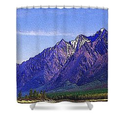 Snow Covered Purple Mountain Peaks Shower Curtain by PainterArtist FIN