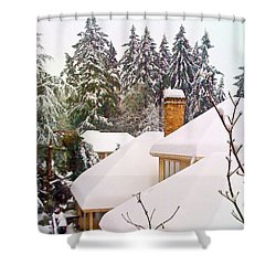 Snow Covered Rooftops - Winter In Lake Oswego Or Shower Curtain by Anna Porter