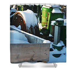 Snow Covered Tractor Shower Curtain by PainterArtist FIN
