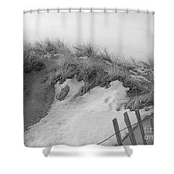 Shower Curtain featuring the photograph Snow Covered Sand Dunes by Eunice Miller