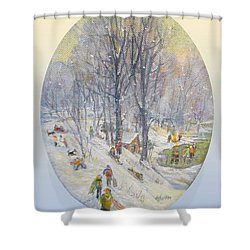 Shower Curtain featuring the painting Snow Day by Donna Tucker