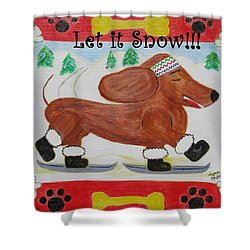 Snow Dog Shower Curtain by Diane Pape