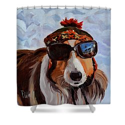 Snow Dog Shower Curtain by Pattie Wall