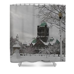 Snow Draped Green Shower Curtain