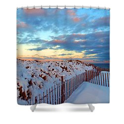 Snow Dunes At Sunrise Shower Curtain by Dianne Cowen