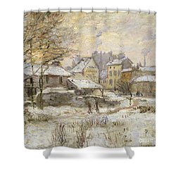 Snow Effect With Setting Sun Shower Curtain by Claude Monet