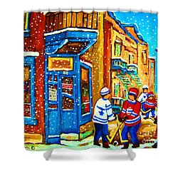 Snow Falling On The Game Shower Curtain by Carole Spandau