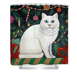Snow Flake The Cat Shower Curtain by Linda Mears