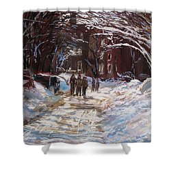 Snow In The City Shower Curtain by Jack Skinner