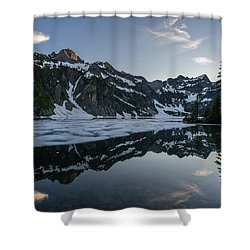 Snow Lake Light Clouds Shower Curtain