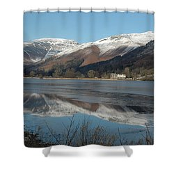 Snow Lake Reflections Shower Curtain