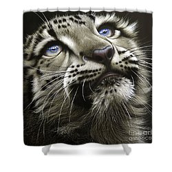 Snow Leopard Cub Shower Curtain by Jurek Zamoyski
