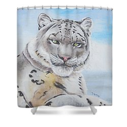 Shower Curtain featuring the painting Snow Leopard by Thomas J Herring