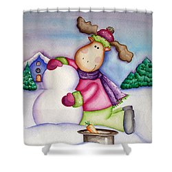 Snow Moose Shower Curtain