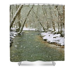 Snow On Butternut Creek Shower Curtain