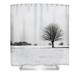 Snow On Epsom Downs Surrey England Uk Shower Curtain