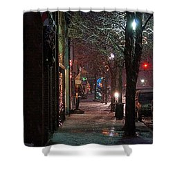 Snow On G Street 2 - Old Town Grants Pass Shower Curtain by Mick Anderson