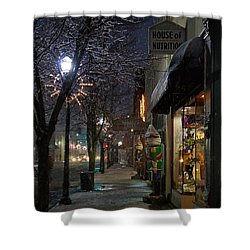 Snow On G Street 3 - Old Town Grants Pass Shower Curtain by Mick Anderson