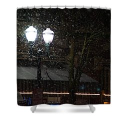 Snow On G Street In Grants Pass - Christmas Shower Curtain by Mick Anderson