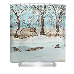 Snow On The Ema River 2 Shower Curtain