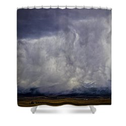 Snow On The Rockies Shower Curtain by Greg Reed