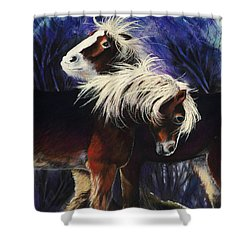 Snow Ponies Shower Curtain