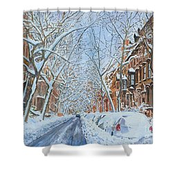 Snow Remsen St. Brooklyn New York Shower Curtain by Anthony Butera
