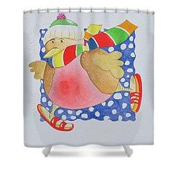 Snow Robin Shower Curtain by Tony Todd