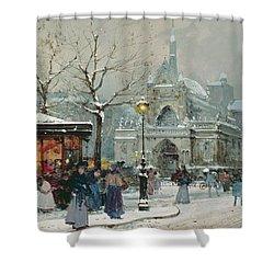 Snow Scene In Paris Shower Curtain