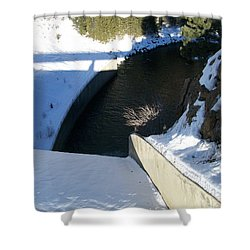 Snow Slide Shower Curtain by Jewel Hengen