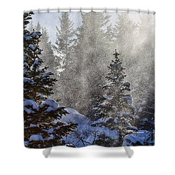 Snow Squalls Shower Curtain by Jim Garrison