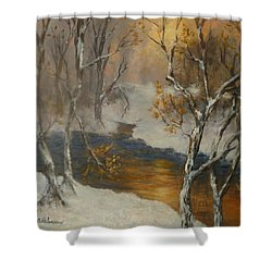Snow Sunset Paintings Shower Curtain