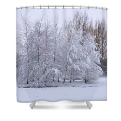 Snow Trees Shower Curtain