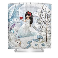 Snow White Shower Curtain by Mo T