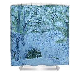 Shower Curtain featuring the painting Snow Wolves by Eloise Schneider