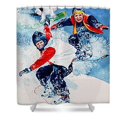 Shower Curtain featuring the painting Snowboard Super Heroes by Hanne Lore Koehler