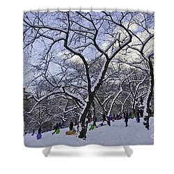 Snowboarders In Central Park Shower Curtain by Madeline Ellis