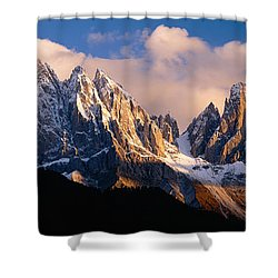 Snowcapped Mountain Peaks, Dolomites Shower Curtain